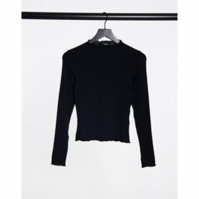 モンキ Monki レディース 長袖Tシャツ トップス Molly organic cotton ribbed long sleeve top in black ブラック