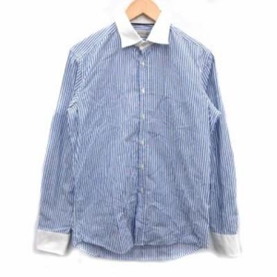 【中古】エトロ ETRO ワイシャツ ドレスシャツ 長袖 ストライプ 38 M 青 ブルー 白 ホワイト /ST●D メンズ