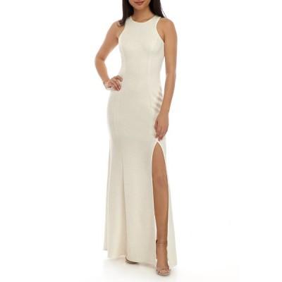 x ワンピース トップス レディース Women's Halter Glitter Knit Mermaid Gown Ivory/Gold