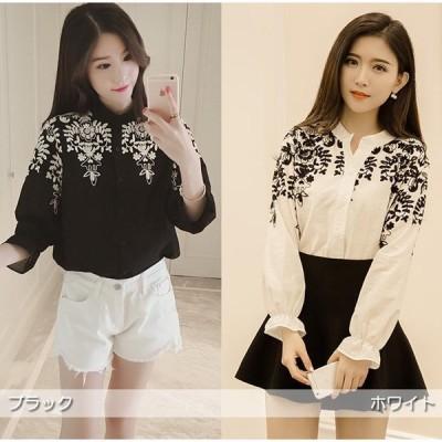 シャツ ブラウス 長袖 刺繍シャツ レディース ブラウス トップス 長袖 白 黒