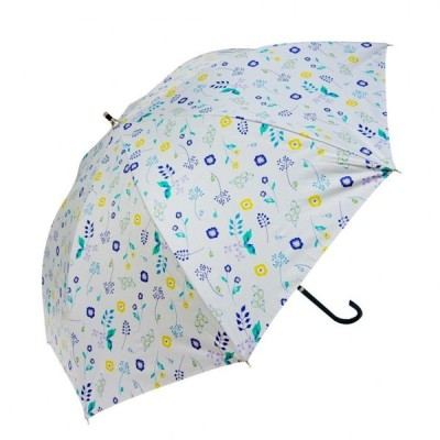 雨晴兼用 長傘 58cm ボタニカル UB-2061 ホワイト 傘 晴雨兼用傘