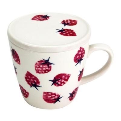 旬果 蓋付マグカップ イチゴ 51898  コーヒー お茶用品【同梱不可】[▲][AB]