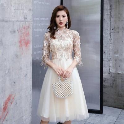 七分袖 膝丈ドレス 披露宴  パーディードレス 編み上げ ウェディング Aライン ワンピース 花嫁ドレス レディース 発表会 二次会  結婚式 ドレス