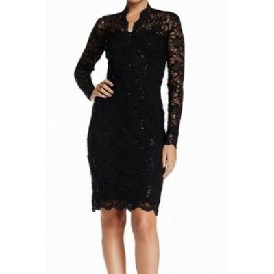 Marina マリーナ ファッション ドレス Marina NEW Black Womens Size 12 Floral Lace Sequined Sheath Dress