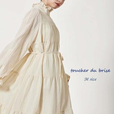 新作 Mサイズ フリル スタンドカラー ティアード ワンピースレディース toucher du brise  ファッション20代 30代 40代 人気コーデ おしゃれ 中国 韓国風 通販