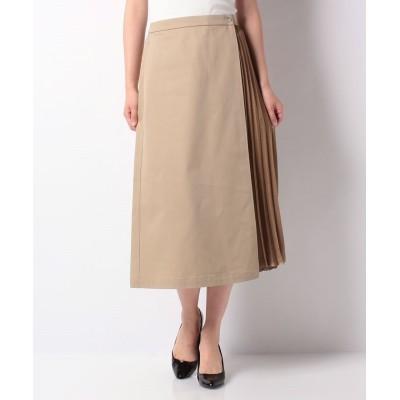(Mint Glam/ミントグラム)【TV着用】ハードチノ×サテンプリーツ フレアースカート/レディース ベージュ