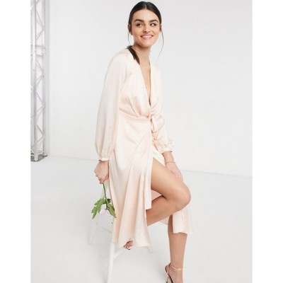 ティーエフエヌシー ミディドレス レディース TFNC bridesmaid satin long sleeve wrap front midi dress in light blush エイソス ASOS