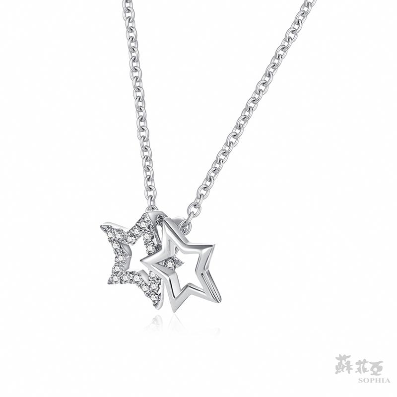 SOPHIA 蘇菲亞珠寶 - 星情 14K白金 鑽石項鍊