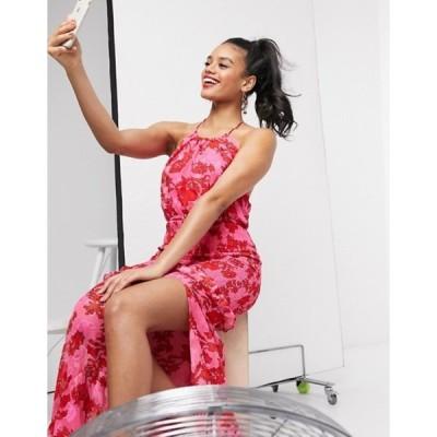 ダークピンク レディース ワンピース トップス Dark Pink high neck shirred maxi dress in bright floral
