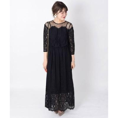 ドレス little black:レースチュールマキシワンピース《パーティー用》◇