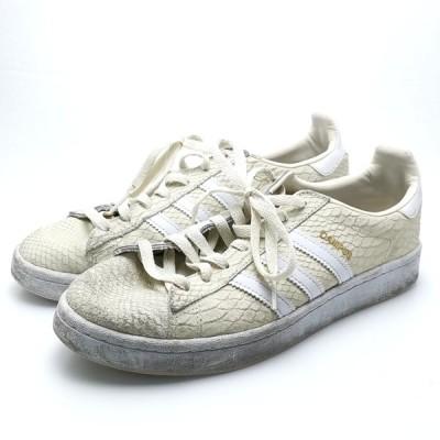 送料無料 アディダス adidas スニーカー 靴 シューズ CQ2104 Campus W パイソン調 合成皮革 24cm 白 ホワイト系 レディース