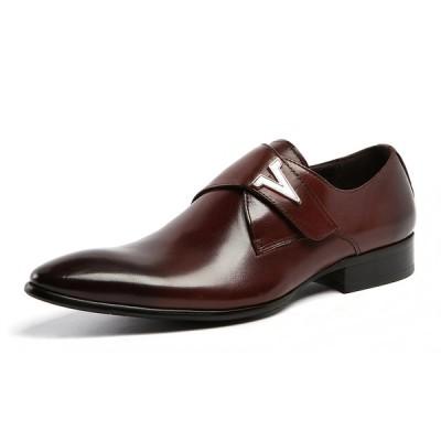 定番 メンズ 靴 レザー ビジネスシューズ ブランド  本革 モンクストラップ ドレスシューズ 革靴 紳士靴 オフィスシューズ カジュアル(ブラウン)FA203-521