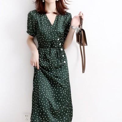 2020年新作 レディース 女性らしい 着痩せ 美シルエット 大人 Vネック キレイめ 通勤用  ワンピース  Aラインワンピース ドレス