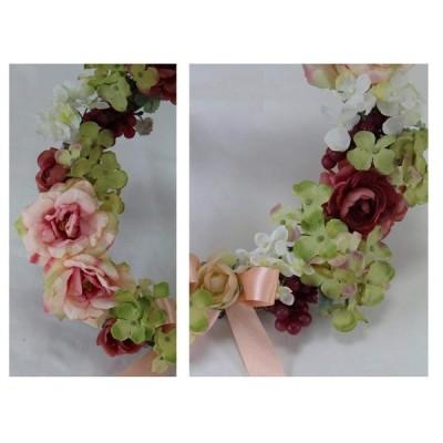 CT触媒 消臭ローズ ハイドランジアリースsz-043造花 フェイクフラワー日本製リビングや玄関・ダイニングに飾って抗菌・消臭も