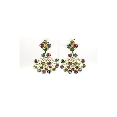 イヤリング ケネスジェイレーン Kenneth Jay Lane Gold Plated Golden Multi Stone Cabochon clip earrings
