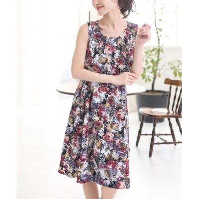 ゴブラン風花柄ワンピース (ワンピース)Dress