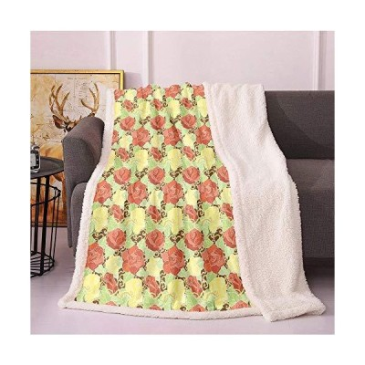 "SeptSonne Flower Plush Blanket 60""X80"",Rose Bouquets Floral Field Vintage Romantic Blooms Vibrant Feminine Digital Pattern Light Thermal Bla"