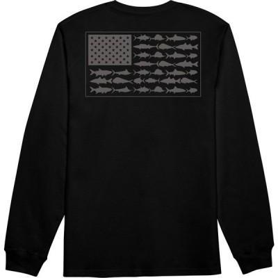 コロンビア シャツ トップス メンズ Columbia Men's PFG Americana Saltwater Fish Flag Long Sleeve Shirt Black