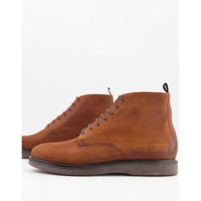 エイチ バイ ハドソン メンズ ブーツ・レインブーツ シューズ H by Hudson troy lace up boots in tan waxed leather