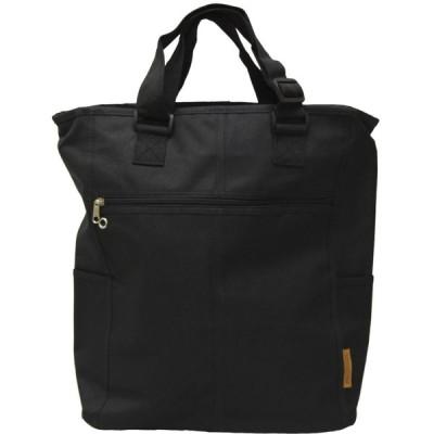 ポリエステル持ち手調節可能トートバッグ(ショルダーバッグ) ブラック