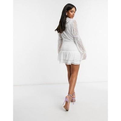 インザスタイル レディース ワンピース トップス In The Style x Lorna Luxe lace high neck tie detail smock dress in white floral Gray multi