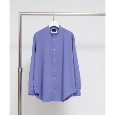 シャツ ブラウス プレーンストレッチオーバーサイズバンドカラーシャツ 【MAISON SPECIAL/メゾンスペシャル】