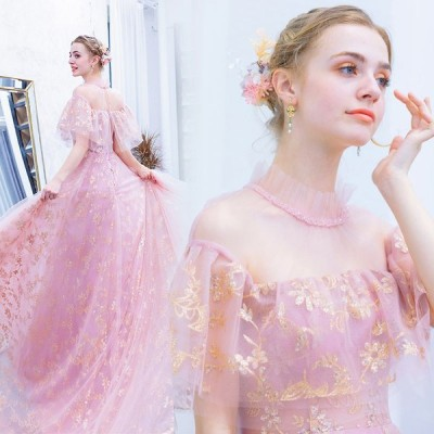 ドレス ロング ロングドレス 2次会 二次会ドレス 花嫁 結婚式 パーティードレス  パーティー 大きいサイズ 袖あり オフショルダー ピンク