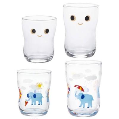 ( セット )アデリア つよいこグラス nico S&Mセット+つよいこグラスS+M かくれんぼ ぞう コップ こども 幼児  ガラス  イラスト 絵柄 動物  日本製