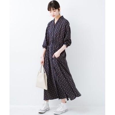【ハコ】 1枚でも羽織としても着られて便利! 長~~く使えて着映えする柄ワンピース レディース ネイビー S haco!