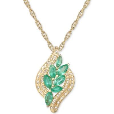 """メイシーズ Macy's ユニセックス ネックレス Emerald (3/4 ct. t.w.) & Diamond (1/10 ct. t.w.) 18"""" Pendant Necklace in 14k Gold Over Sterling Silver"""