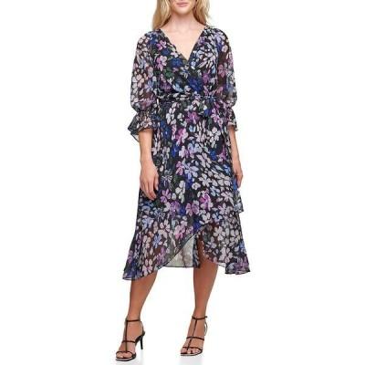 ダナ キャラン ニューヨーク レディース ワンピース トップス Floral Chiffon Faux Wrap Midi Dress Black Multi