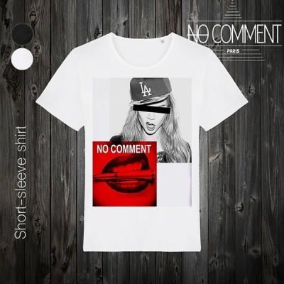 NO COMMENT PARIS ノーコメントパリ 半袖 Tシャツ ブラック ホワイト ラウンドネック Vネック メンズ レディース ドジャース キャップ dogers cap-NCLTN145