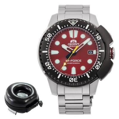 (丸型時計ケース付)オリエント ORIENT 腕時計 RN-AC0L02R スポーツ SPORTS メンズ M-FORCE 自動巻き(手巻付) ステンレスバンド アナログ(国内正規品)