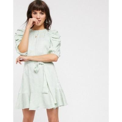 アンドアザーストーリーズ レディース ワンピース トップス & Other Stories swirly jacquard belted mini dress in sage green