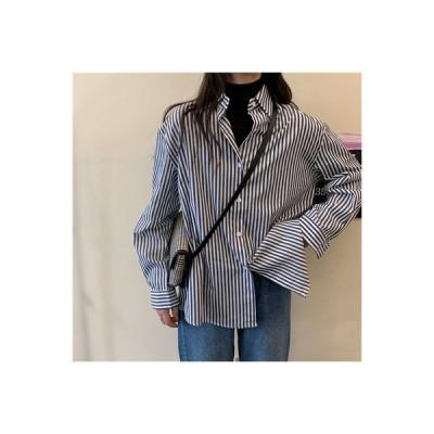 【送料無料】秋 ストライプのシャツ 女 デザイン 感 小 韓国風 ルース 何でも | 364331_A63984-9336237