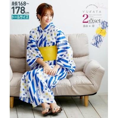 浴衣 トールサイズ レディース 2点セット ゆかた+作り帯 紺 ダイヤ +黄 MTT~LTT ニッセン