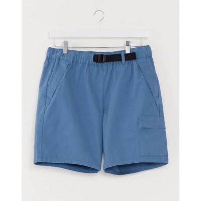 エイソス デニム ハーフパンツ 短パン ショート ショーツ ハーフ パンツ メンズ ASOS DESIGN cargo shorts with webbed belt in bright blue エイソス ASOS ブル