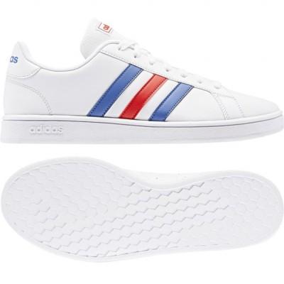 アディダス GRANDCOURT BASE EE7901 メンズ レディース スニーカー:ホワイト×ネイビー adidas 白スニーカー 白靴 通学スニーカー 白スクールシューズ 通学靴