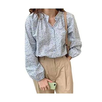 [TaiShan] レディース 長袖シャツ ゆったり 可愛い 春 夏 長袖 ブラウス Vネック ボタン 花柄 薄手 トップス ファ?