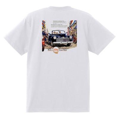 アドバタイジング フォード Tシャツ 白 1079 黒地へ変更可 1947 ホットロッド ローライダー ロカビリー アドバタイズメント レッドスレッド