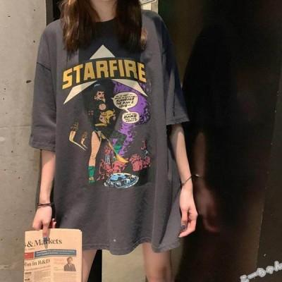 Tシャツ レディース 半袖 トップス ゆるTシャツ 大きいサイズ プルオーバー カジュアル 着痩せ 体型カバー ルームウェア 2021夏