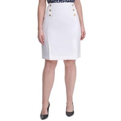 カルバンクライン レディース スカート ボトムス Plus Size Side-Button Pencil Skirt White