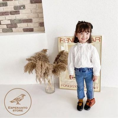 子供服 女の子 フリルシャツ 綿100% ブラウス レース 入学式 80 90 100 110