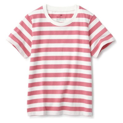 無印良品 インド綿天竺編みTシャツ キッズ130 ローズボーダー 良品計画
