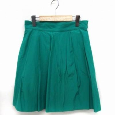 【中古】マカフィー MACPHEE トゥモローランド スカート ギャザー ひざ丈 シンプル 38 グリーン 緑 /FT41 レディース