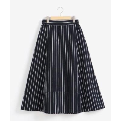 NIMES / ニーム オックス/コットンリネンストライプ Aラインミディ丈スカート