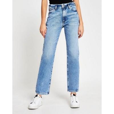 リバーアイランド レディース デニムパンツ ボトムス River Island Blair high rise straight cut ripped jeans in light blue