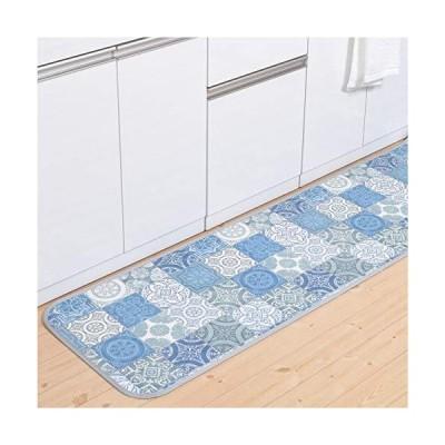 拭ける 撥水 キッチンマット 60cm×270cm 【 アンティグロ タイル柄 】 ブルー | 滑り止め ロング ワイ