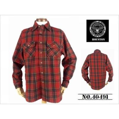 【送料無料 37%OFF 】HOUSTON  ヒューストン  ウール混  チェックビエラWORKシャツ   NO.40491  RED_Mサイズ