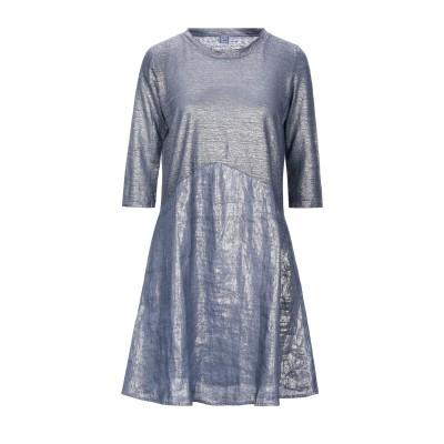 120% ミニワンピース&ドレス ブルー L リネン 100% ミニワンピース&ドレス